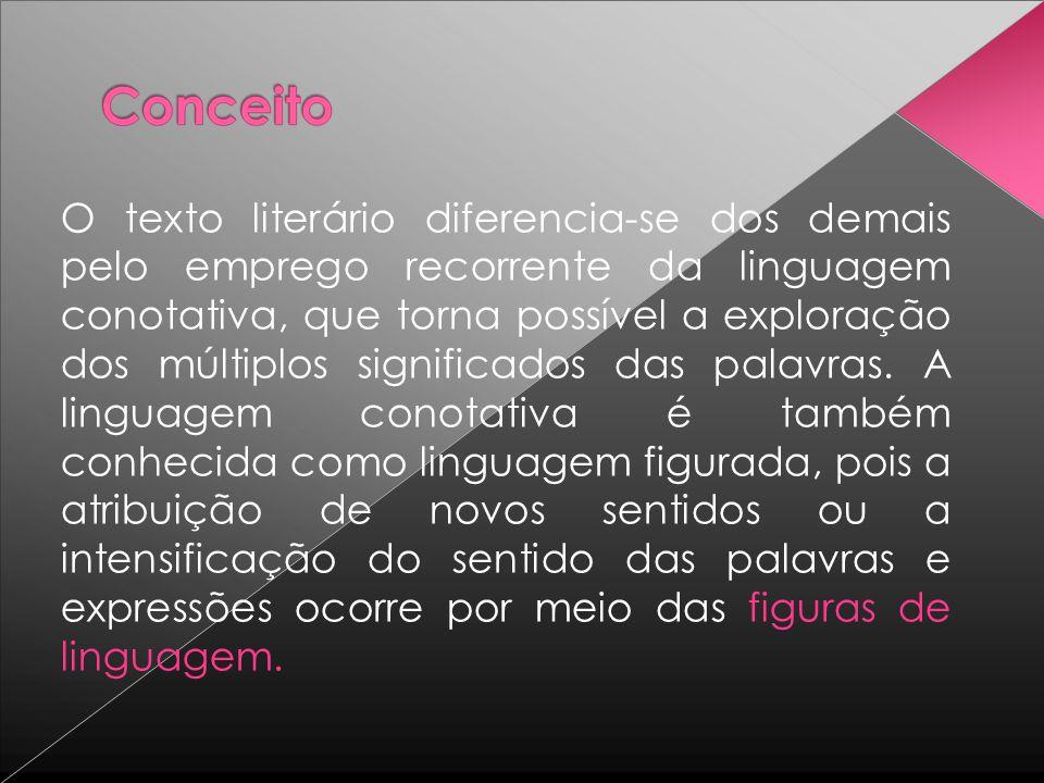O texto literário diferencia-se dos demais pelo emprego recorrente da linguagem conotativa, que torna possível a exploração dos múltiplos significados das palavras.