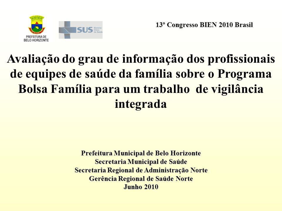 13º Congresso BIEN 2010 Brasil Prefeitura Municipal de Belo Horizonte Secretaria Municipal de Saúde Secretaria Regional de Administração Norte Gerênci