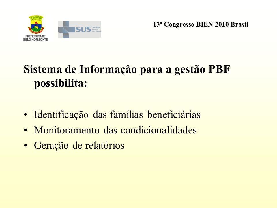 13º Congresso BIEN 2010 Brasil Sistema de Informação para a gestão PBF possibilita: Identificação das famílias beneficiárias Monitoramento das condici