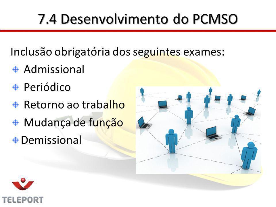 7.4 Desenvolvimento do PCMSO Inclusão obrigatória dos seguintes exames: Admissional Periódico Retorno ao trabalho Mudança de função Demissional