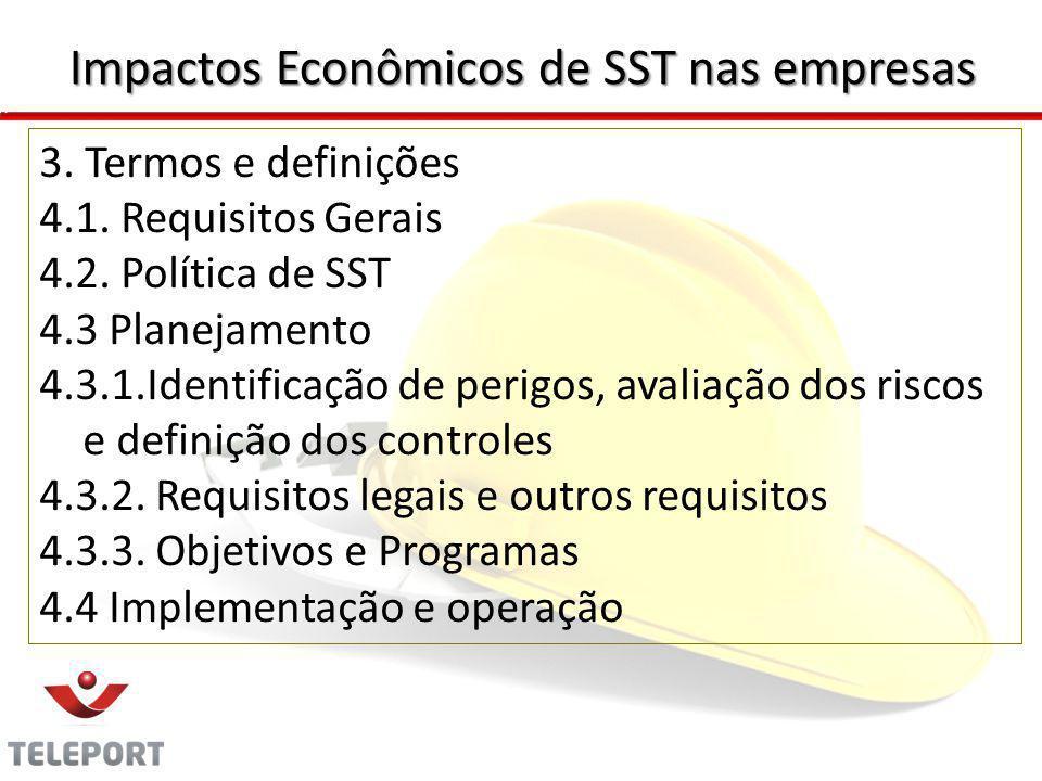3. Termos e definições 4.1. Requisitos Gerais 4.2. Política de SST 4.3 Planejamento 4.3.1.Identificação de perigos, avaliação dos riscos e definição d