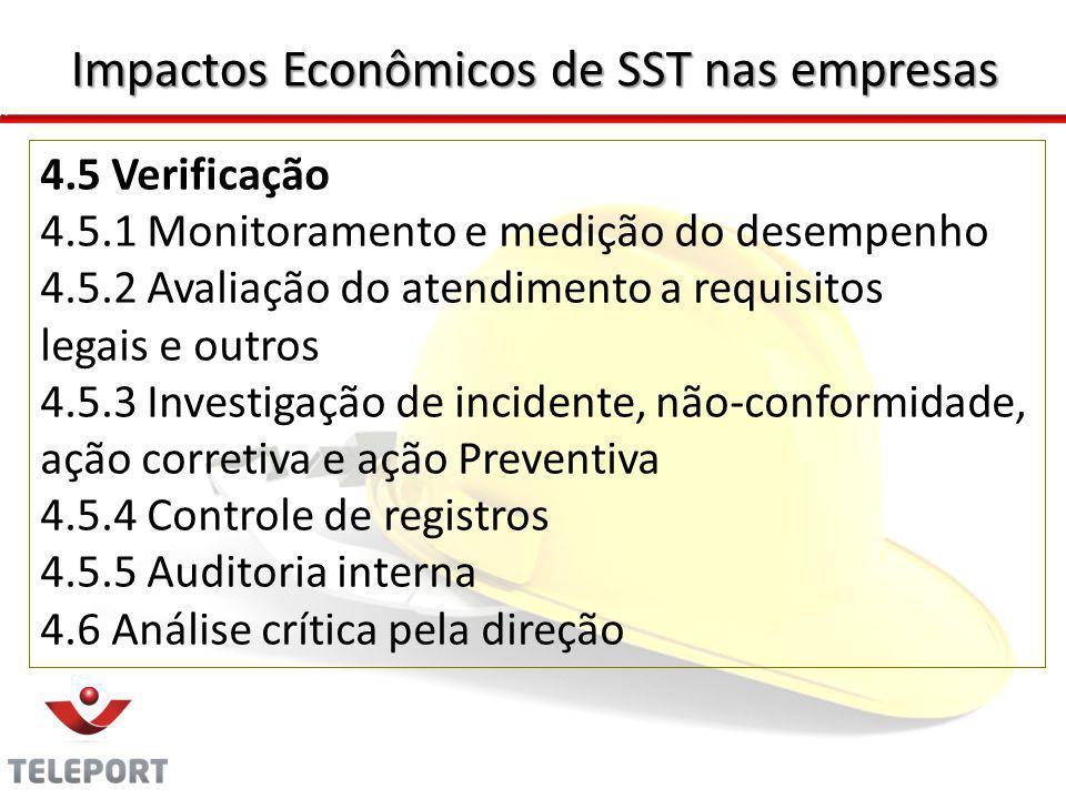 4.5 Verificação 4.5.1 Monitoramento e medição do desempenho 4.5.2 Avaliação do atendimento a requisitos legais e outros 4.5.3 Investigação de incident
