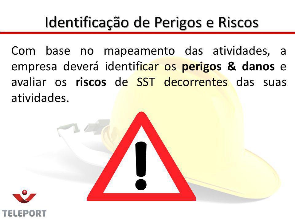 Com base no mapeamento das atividades, a empresa deverá identificar os perigos & danos e avaliar os riscos de SST decorrentes das suas atividades. Ide