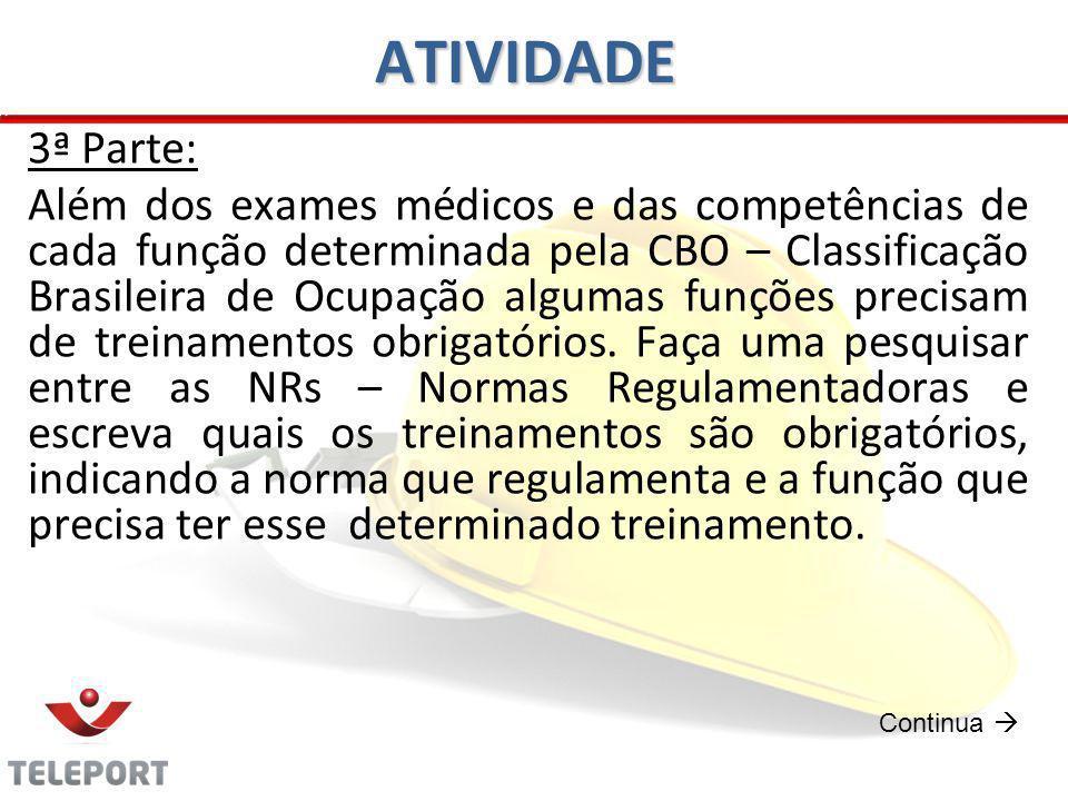 ATIVIDADE 3ª Parte: Além dos exames médicos e das competências de cada função determinada pela CBO – Classificação Brasileira de Ocupação algumas funç