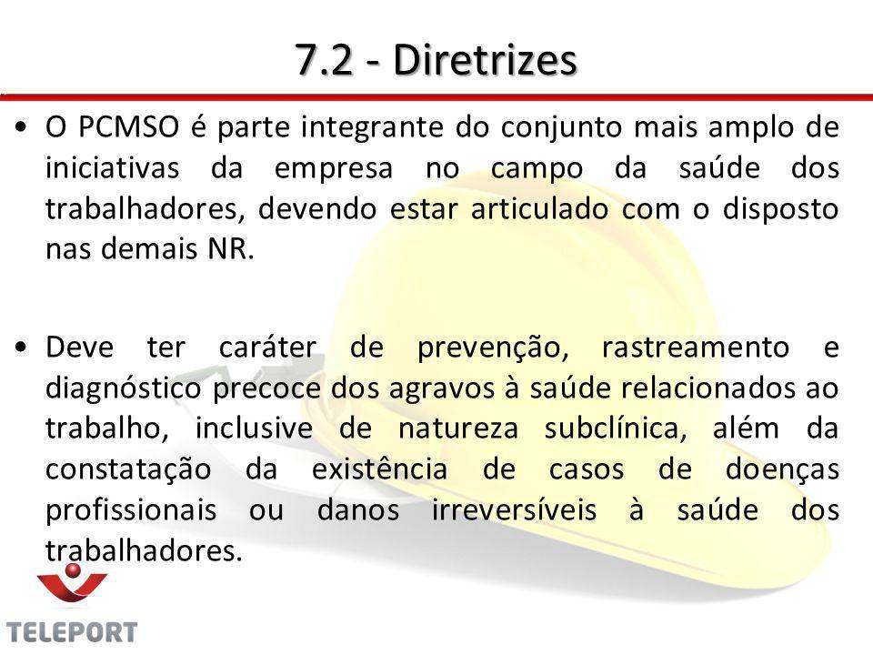 7.2 - Diretrizes O PCMSO é parte integrante do conjunto mais amplo de iniciativas da empresa no campo da saúde dos trabalhadores, devendo estar articu