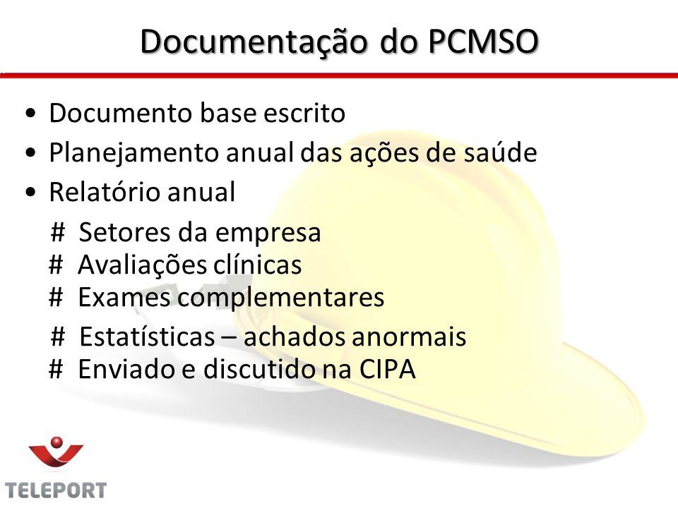 Documentação do PCMSO Documento base escrito Planejamento anual das ações de saúde Relatório anual # Setores da empresa # Avaliações clínicas # Exames