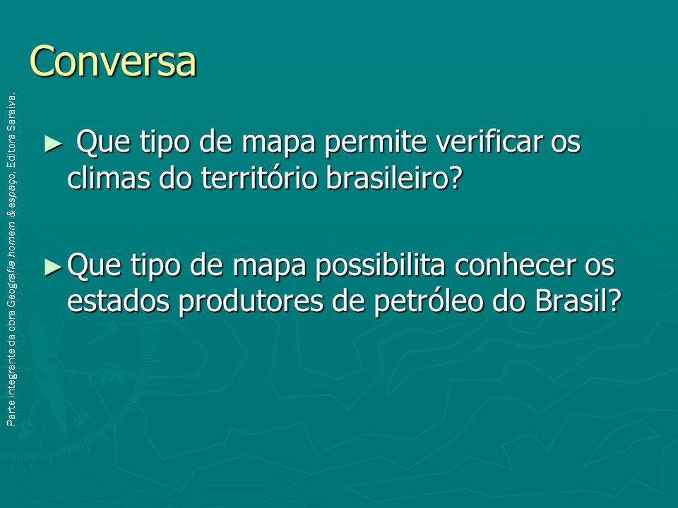 Conversa ► Que tipo de mapa permite verificar os climas do território brasileiro.