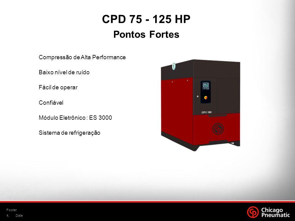 4. Footer Date Compressão de Alta Performance Baixo nível de ruído Fácil de operar Confiável Módulo Eletrônico : ES 3000 Sistema de refrigeração CPD 7