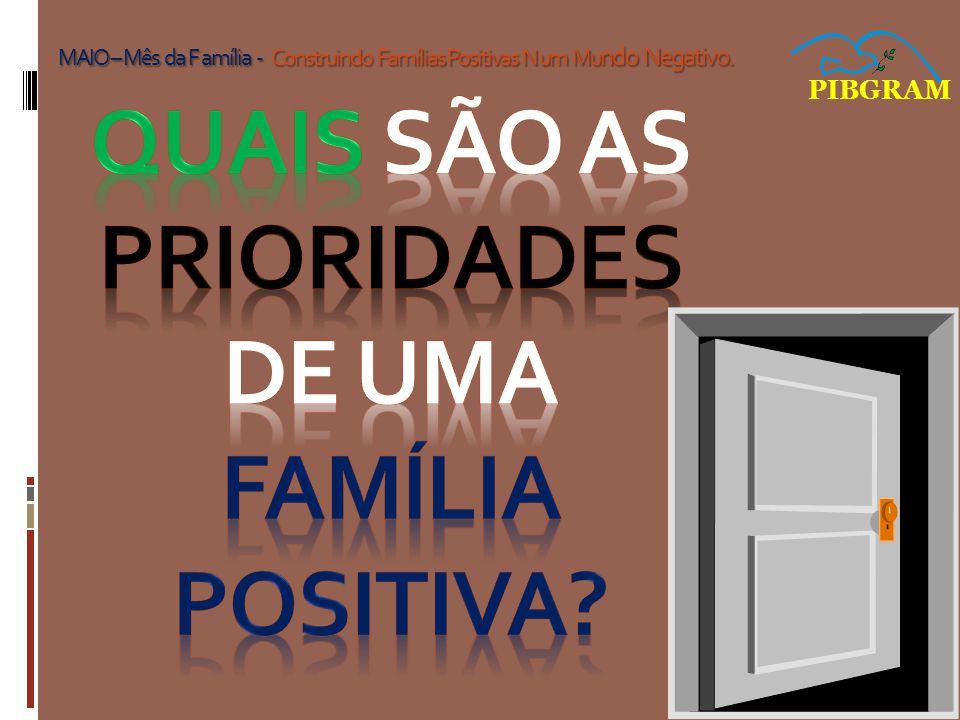 PIBGRAM MAIO – Mês da F amília - Construindo Famílias Positivas N um Mu ndo Negativo.