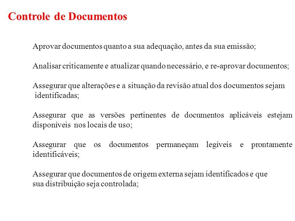Controle de Documentos Aprovar documentos quanto a sua adequação, antes da sua emissão; Analisar criticamente e atualizar quando necessário, e re-apro