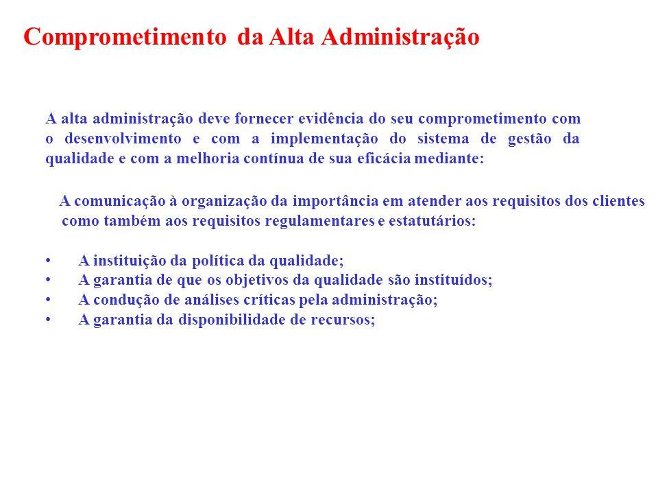 A alta administração deve fornecer evidência do seu comprometimento com o desenvolvimento e com a implementação do sistema de gestão da qualidade e co