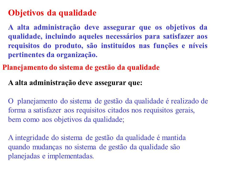 Objetivos da qualidade A alta administração deve assegurar que os objetivos da qualidade, incluindo aqueles necessários para satisfazer aos requisitos