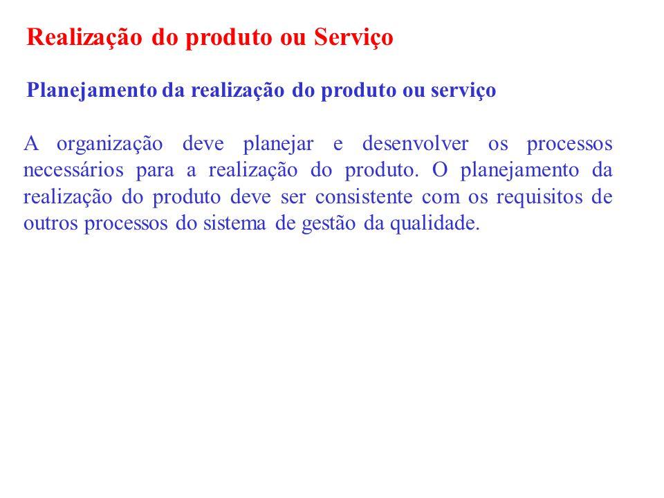 Realização do produto ou Serviço Planejamento da realização do produto ou serviço A organização deve planejar e desenvolver os processos necessários p