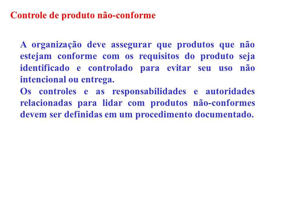 Controle de produto não-conforme A organização deve assegurar que produtos que não estejam conforme com os requisitos do produto seja identificado e c