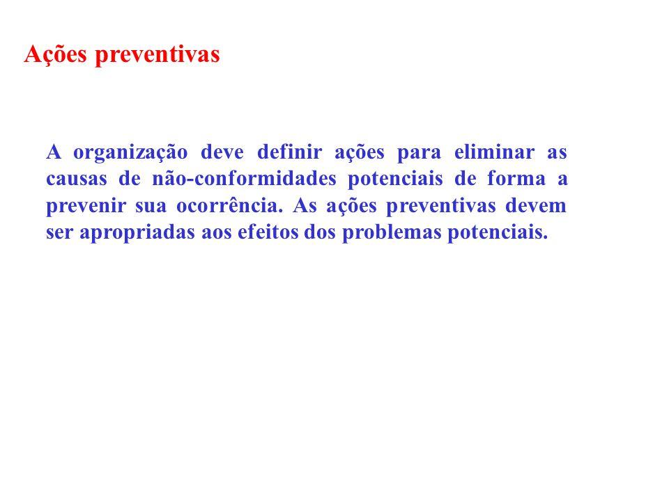 Ações preventivas A organização deve definir ações para eliminar as causas de não-conformidades potenciais de forma a prevenir sua ocorrência. As açõe