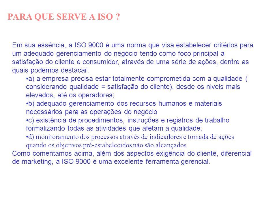 PARA QUE SERVE A ISO ? Em sua essência, a ISO 9000 é uma norma que visa estabelecer critérios para um adequado gerenciamento do negócio tendo como foc