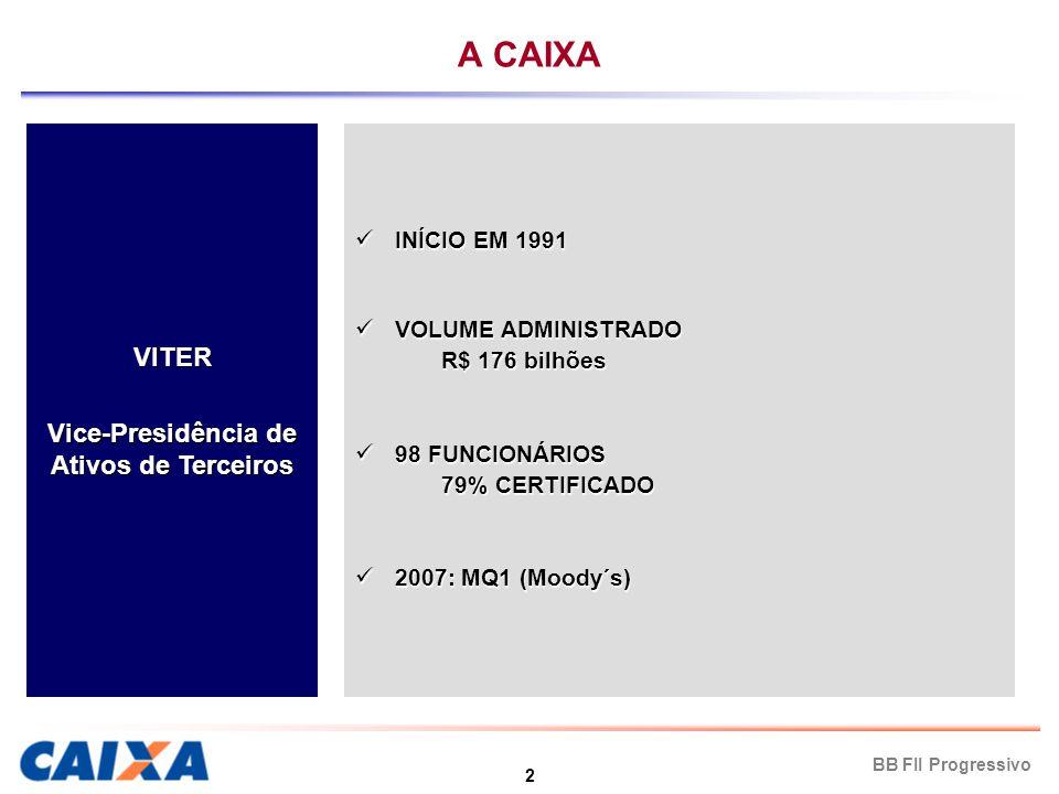 3 BB FII Progressivo FII Administrado pela CAIXA BB FII Progressivo PATRIMÔNIO PATRIMÔNIO R$ 127 milhões VALOR DE EMISSÃO DAS COTAS VALOR DE EMISSÃO DAS COTAS R$1.000 (130.000 cotas) DISTRIBUIÇÃO PRIMÁRIA DISTRIBUIÇÃO PRIMÁRIA 26/07/04 (Banco do Brasil) DISTRIBUIÇÃO SECUNDÁRIA DISTRIBUIÇÃO SECUNDÁRIA Início → 01/02/05 Término → 27/06/05 Cotas distribuídas pelo Banco do Brasil RENTABILIDADE RENTABILIDADE Proveniente das receitas de locação dos espaços destinados às instalações do Banco do Brasil.
