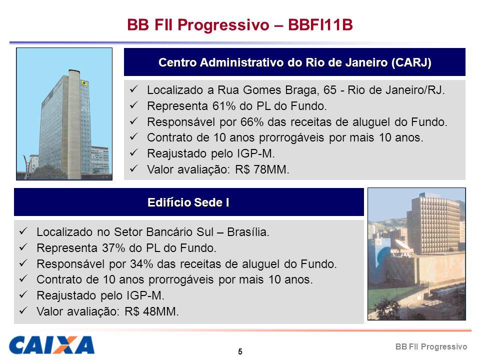 5 BB FII Progressivo BB FII Progressivo – BBFI11B Centro Administrativo do Rio de Janeiro (CARJ) Edifício Sede I Localizado a Rua Gomes Braga, 65 - Rio de Janeiro/RJ.