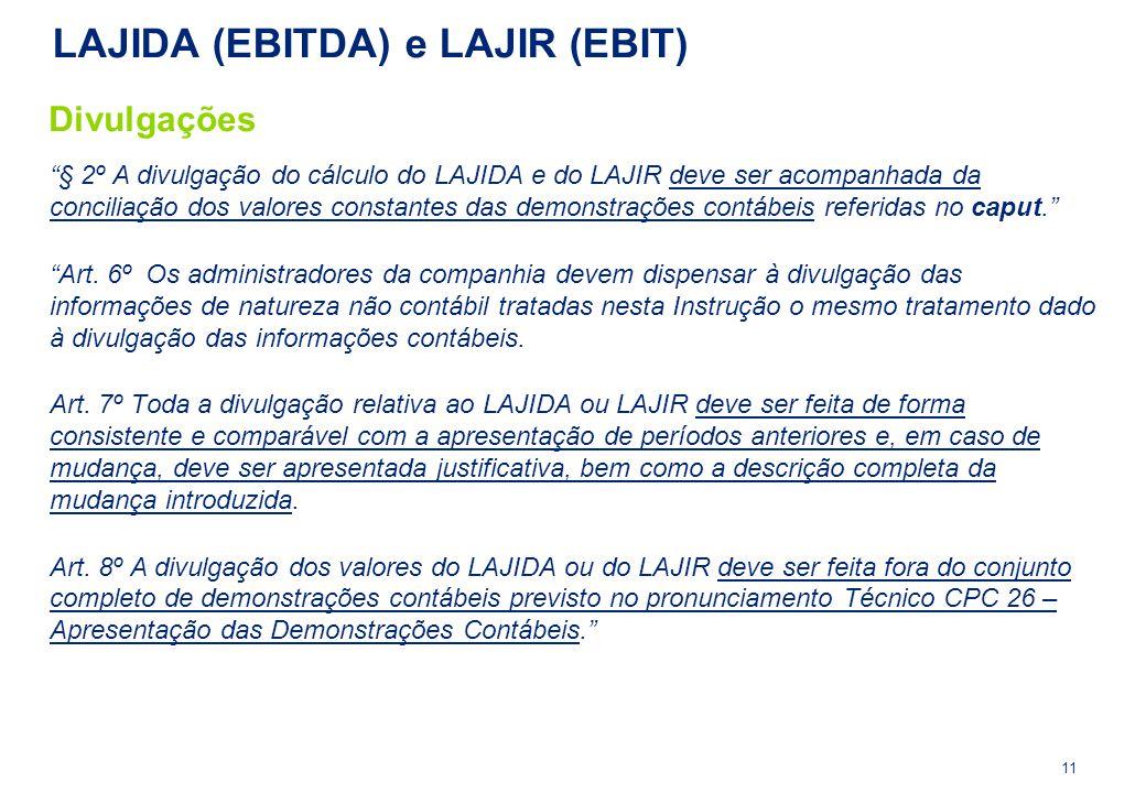 """""""§ 2º A divulgação do cálculo do LAJIDA e do LAJIR deve ser acompanhada da conciliação dos valores constantes das demonstrações contábeis referidas no"""