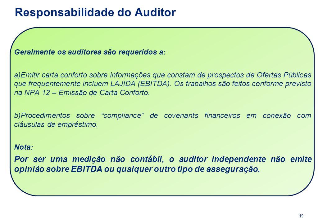 Geralmente os auditores são requeridos a: a)Emitir carta conforto sobre informações que constam de prospectos de Ofertas Públicas que frequentemente i