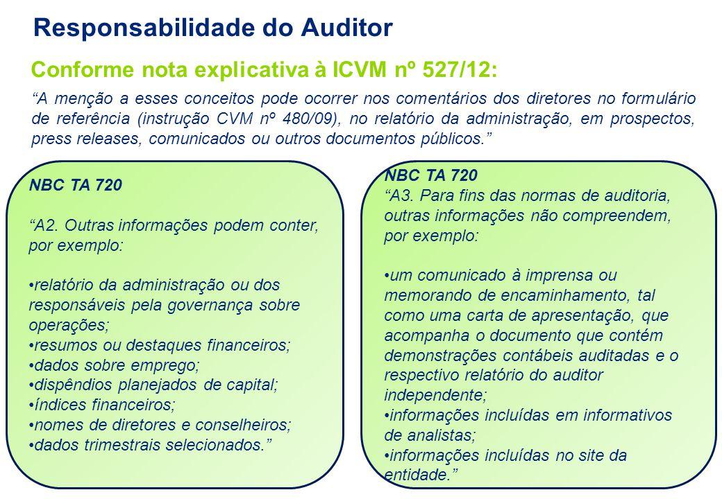 """NBC TA 720 """"A2. Outras informações podem conter, por exemplo: relatório da administração ou dos responsáveis pela governança sobre operações; resumos"""
