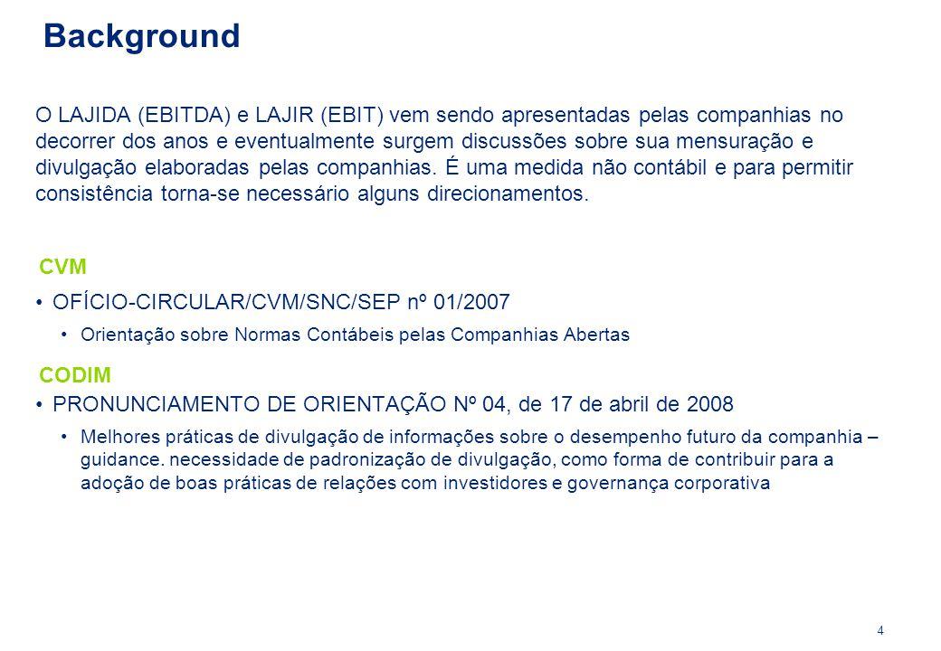 OFÍCIO-CIRCULAR/CVM/SNC/SEP nº 01/2007 Orientação sobre Normas Contábeis pelas Companhias Abertas CVM Background 4 CODIM PRONUNCIAMENTO DE ORIENTAÇÃO
