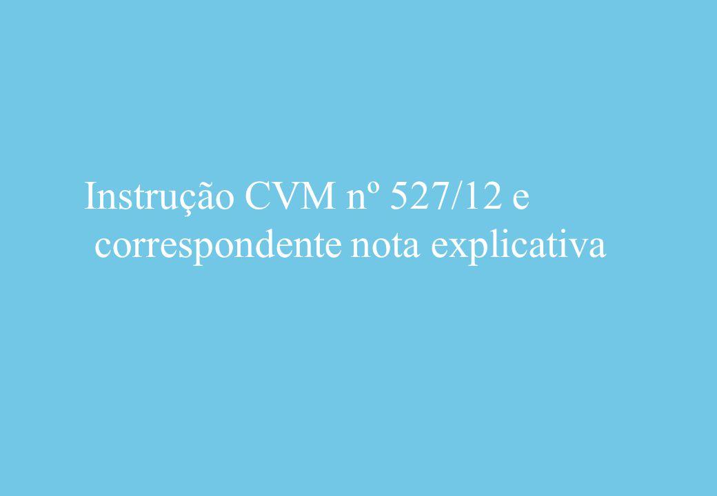 Instrução CVM nº 527/12 e correspondente nota explicativa