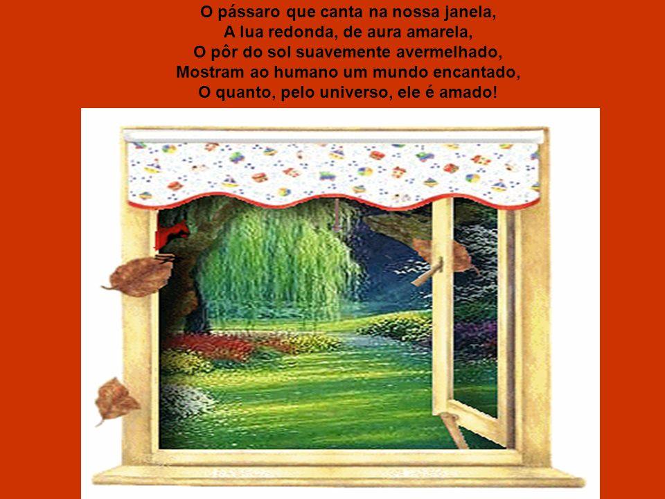 O pássaro que canta na nossa janela, A lua redonda, de aura amarela, O pôr do sol suavemente avermelhado, Mostram ao humano um mundo encantado, O quanto, pelo universo, ele é amado!