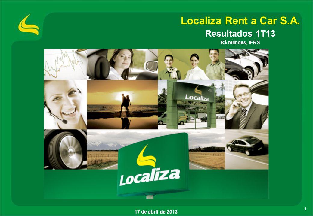1 17 de abril de 2013 Localiza Rent a Car S.A. Resultados 1T13 R$ milhões, IFRS