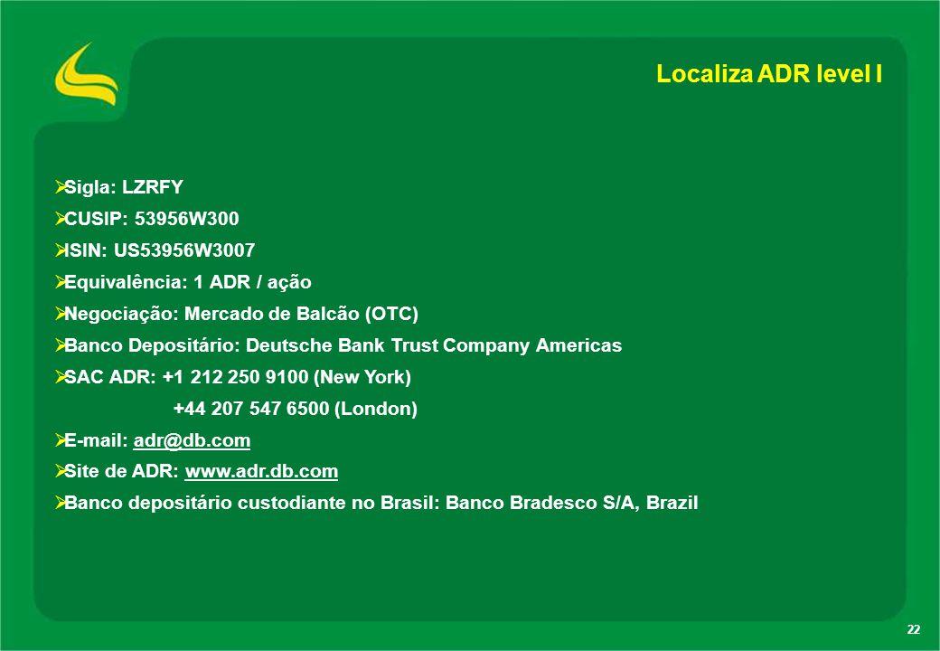 22 Localiza ADR level I  Sigla: LZRFY  CUSIP: 53956W300  ISIN: US53956W3007  Equivalência: 1 ADR / ação  Negociação: Mercado de Balcão (OTC)  Ba