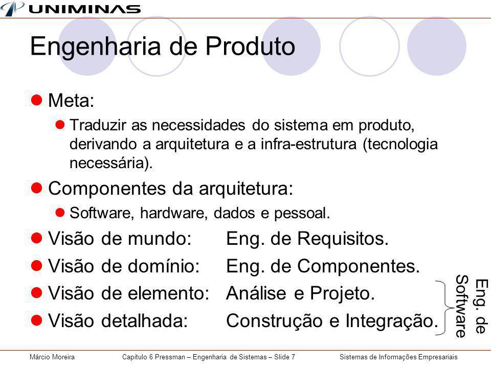 Sistemas de Informações EmpresariaisMárcio MoreiraCapítulo 6 Pressman – Engenharia de Sistemas – Slide 7 Engenharia de Produto Meta: Traduzir as necessidades do sistema em produto, derivando a arquitetura e a infra-estrutura (tecnologia necessária).