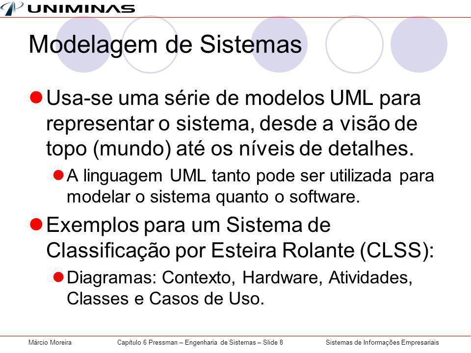 Sistemas de Informações EmpresariaisMárcio MoreiraCapítulo 6 Pressman – Engenharia de Sistemas – Slide 8 Modelagem de Sistemas Usa-se uma série de modelos UML para representar o sistema, desde a visão de topo (mundo) até os níveis de detalhes.