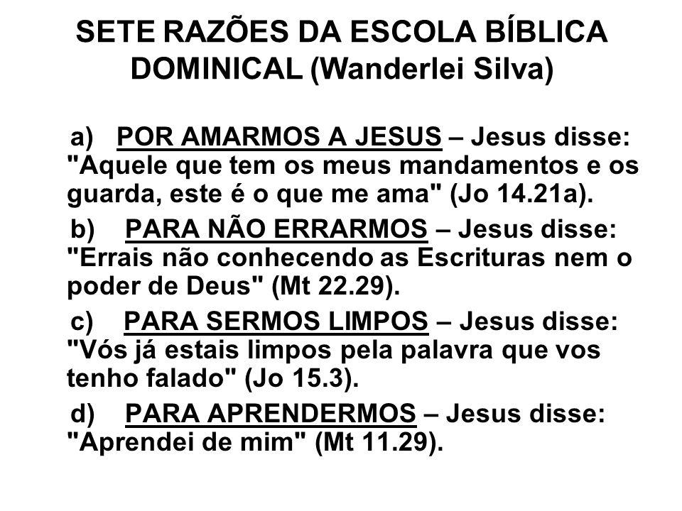 SETE RAZÕES DA ESCOLA BÍBLICA DOMINICAL (Wanderlei Silva) a) POR AMARMOS A JESUS – Jesus disse: Aquele que tem os meus mandamentos e os guarda, este é o que me ama (Jo 14.21a).