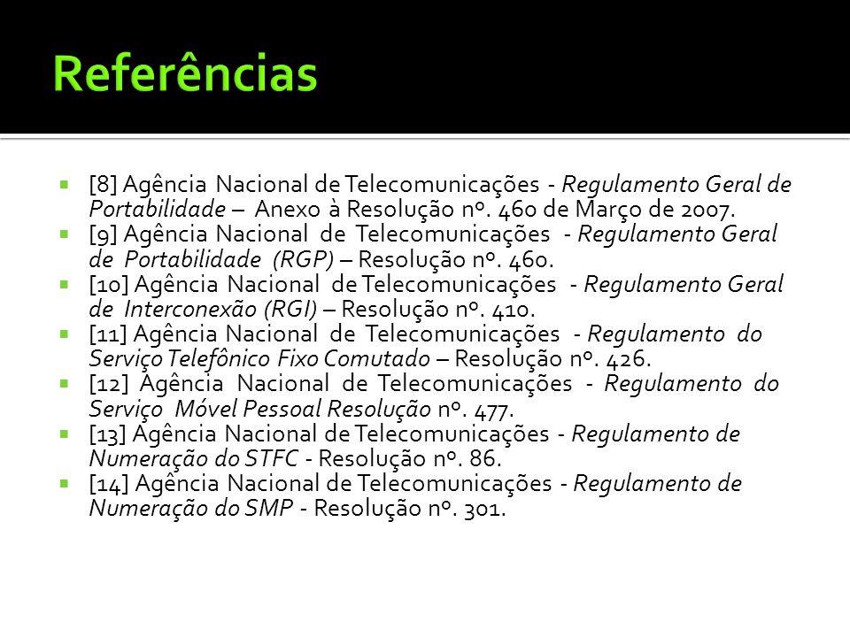  [8] Agência Nacional de Telecomunicações - Regulamento Geral de Portabilidade – Anexo à Resolução nº. 460 de Março de 2007.  [9] Agência Nacional d