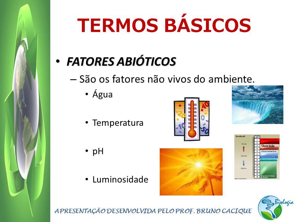 TERMOS BÁSICOS FATORES ABIÓTICOS FATORES ABIÓTICOS – São os fatores não vivos do ambiente. Água Temperatura pH Luminosidade APRESENTAÇÃO DESENVOLVIDA