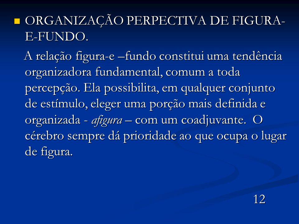 ORGANIZAÇÃO PERPECTIVA DE FIGURA- E-FUNDO. ORGANIZAÇÃO PERPECTIVA DE FIGURA- E-FUNDO. A relação figura-e –fundo constitui uma tendência organizadora f