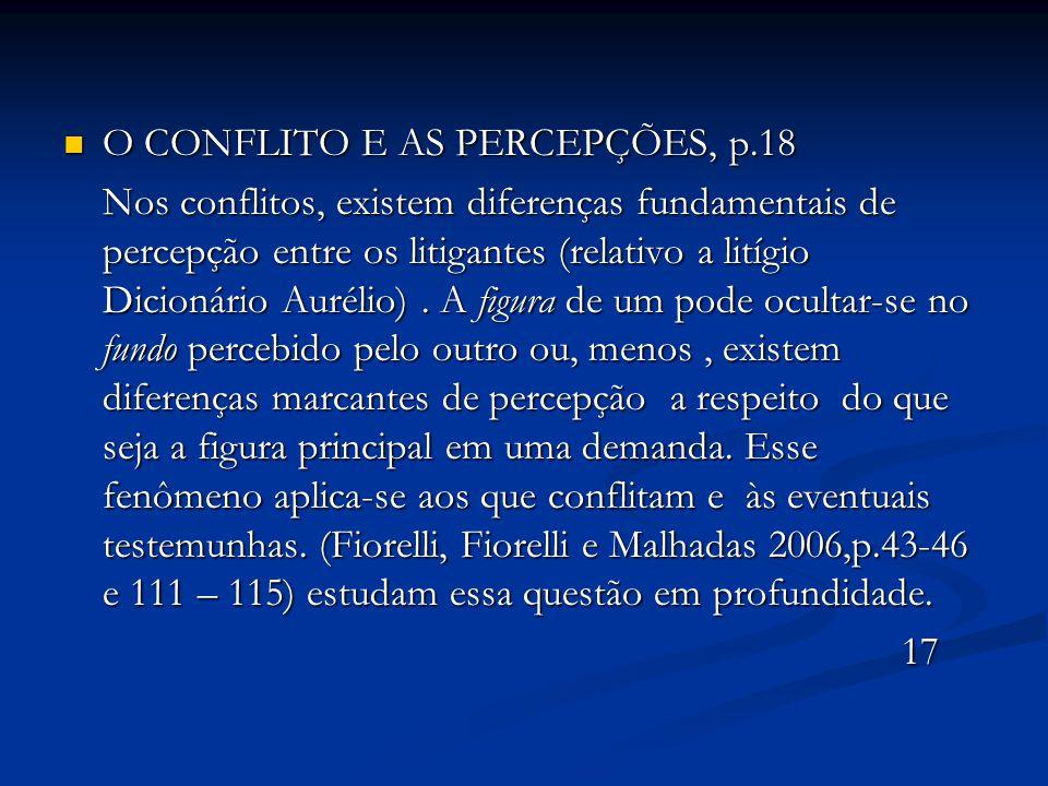 O CONFLITO E AS PERCEPÇÕES, p.18 O CONFLITO E AS PERCEPÇÕES, p.18 Nos conflitos, existem diferenças fundamentais de percepção entre os litigantes (rel