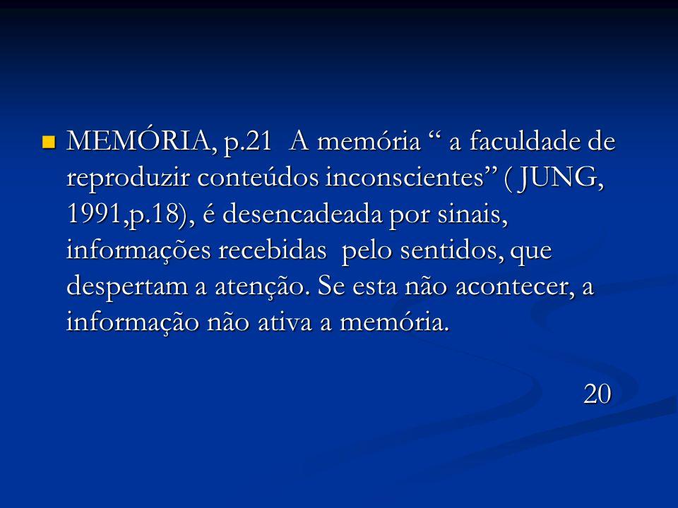 """MEMÓRIA, p.21 A memória """" a faculdade de reproduzir conteúdos inconscientes"""" ( JUNG, 1991,p.18), é desencadeada por sinais, informações recebidas pelo"""