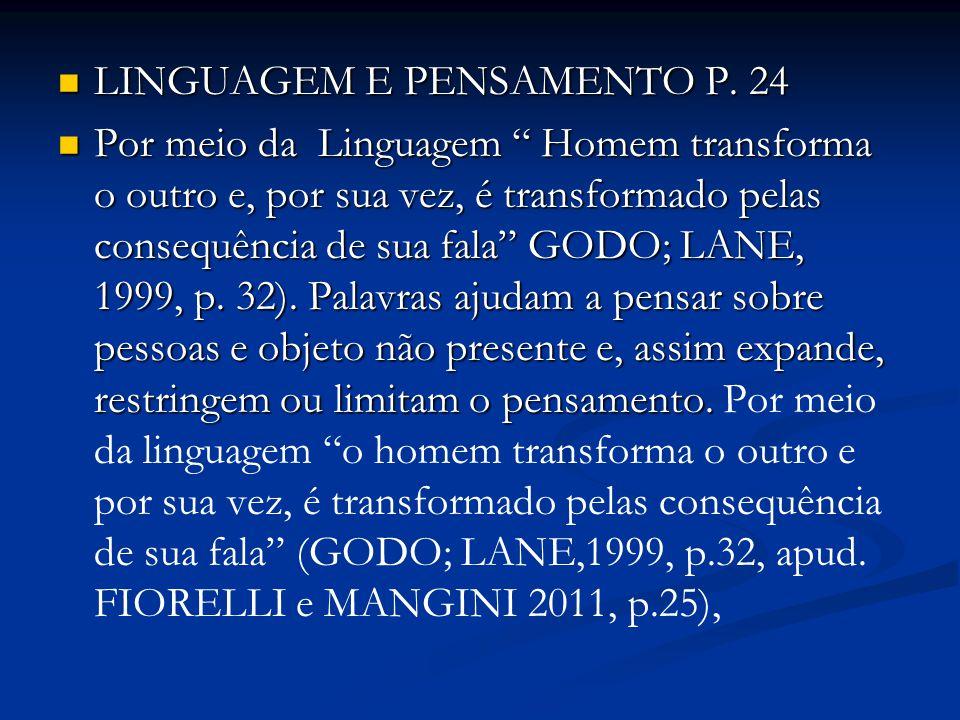 """LINGUAGEM E PENSAMENTO P. 24 LINGUAGEM E PENSAMENTO P. 24 Por meio da Linguagem """" Homem transforma o outro e, por sua vez, é transformado pelas conseq"""