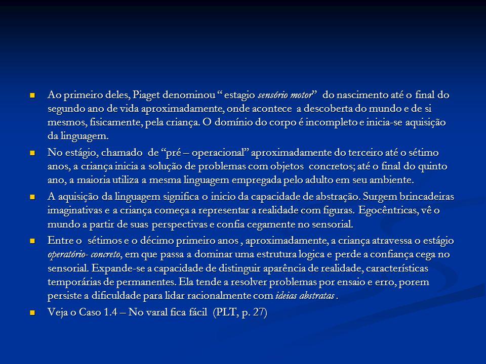"Ao primeiro deles, Piaget denominou "" estagio sensório motor"" do nascimento até o final do segundo ano de vida aproximadamente, onde acontece a descob"