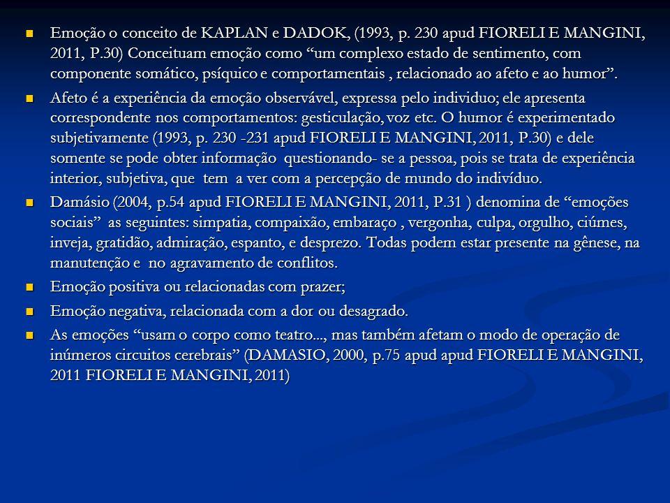 """Emoção o conceito de KAPLAN e DADOK, (1993, p. 230 apud FIORELI E MANGINI, 2011, P.30) Conceituam emoção como """"um complexo estado de sentimento, com c"""