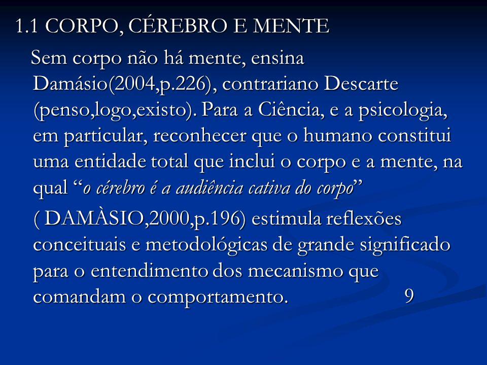 1.1 CORPO, CÉREBRO E MENTE Sem corpo não há mente, ensina Damásio(2004,p.226), contrariano Descarte (penso,logo,existo). Para a Ciência, e a psicologi