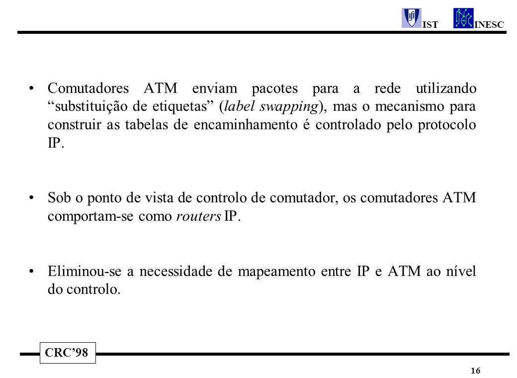 """CRC'98 INESCIST 16 Comutadores ATM enviam pacotes para a rede utilizando """"substituição de etiquetas"""" (label swapping), mas o mecanismo para construir"""
