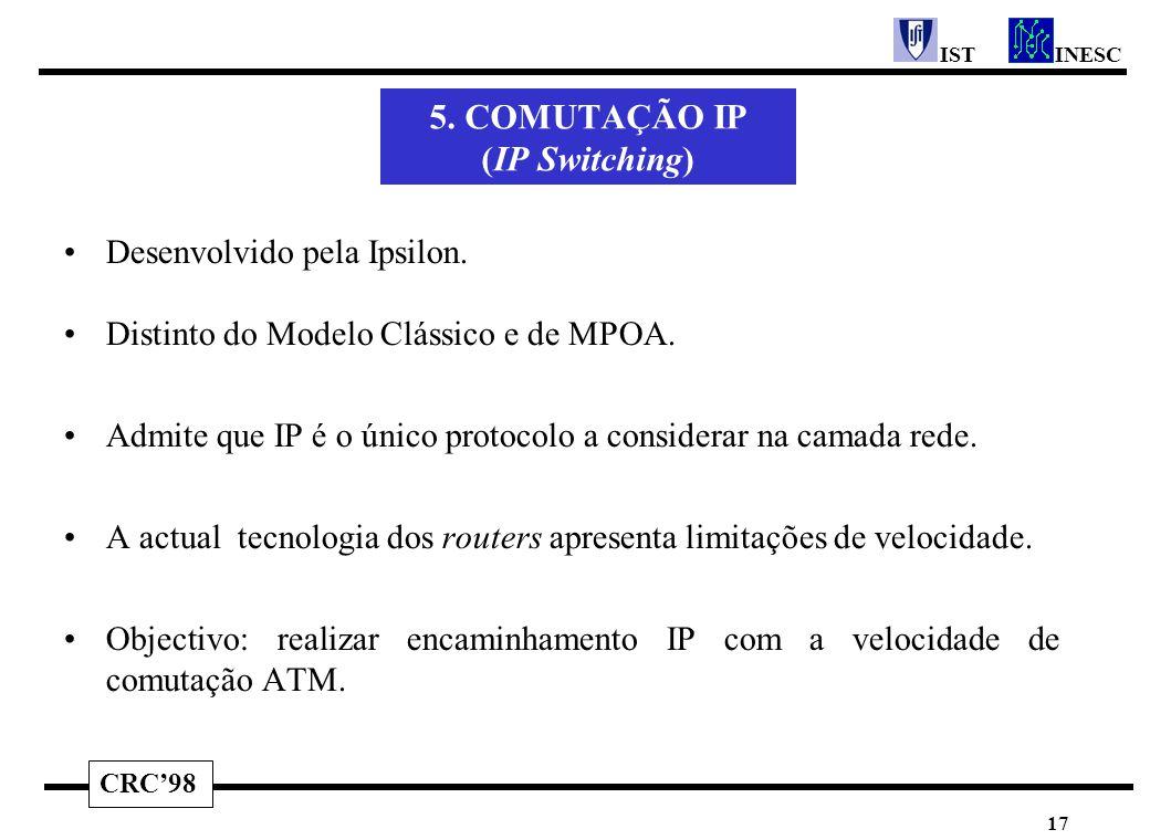 CRC'98 INESCIST 17 5. COMUTAÇÃO IP (IP Switching) Desenvolvido pela Ipsilon. Distinto do Modelo Clássico e de MPOA. Admite que IP é o único protocolo