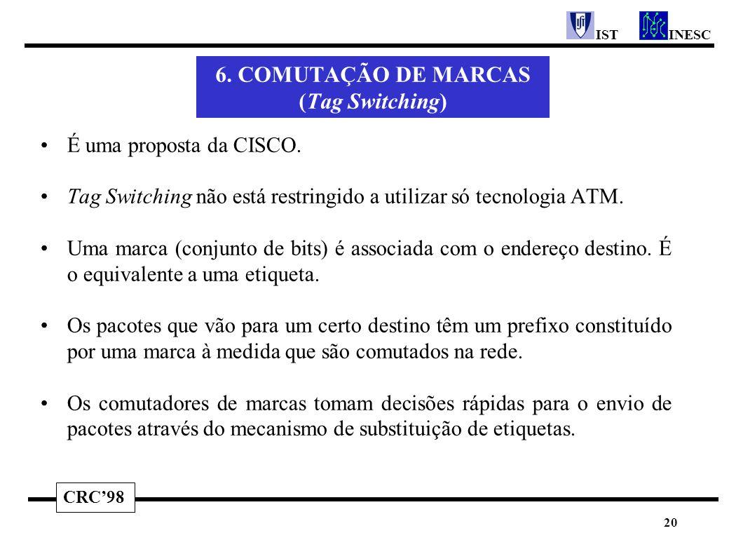 CRC'98 INESCIST 20 6. COMUTAÇÃO DE MARCAS (Tag Switching) É uma proposta da CISCO. Tag Switching não está restringido a utilizar só tecnologia ATM. Um