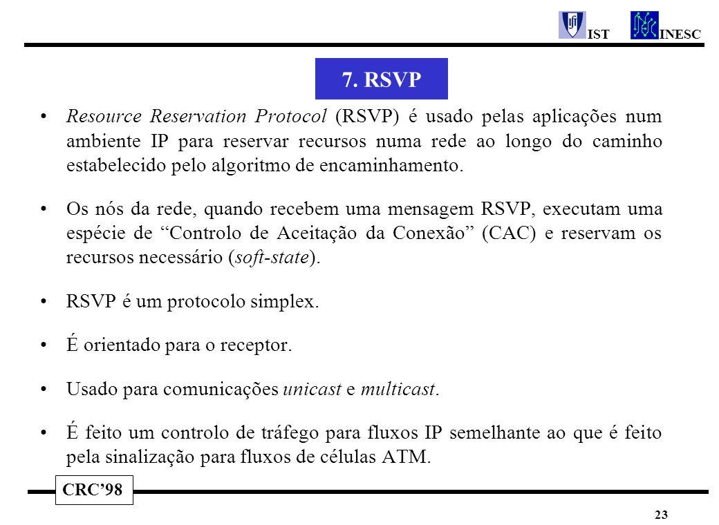CRC'98 INESCIST 23 7. RSVP Resource Reservation Protocol (RSVP) é usado pelas aplicações num ambiente IP para reservar recursos numa rede ao longo do