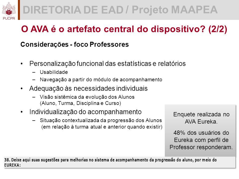 DIRETORIA DE EAD / Projeto MAAPEA O AVA é o artefato central do dispositivo.