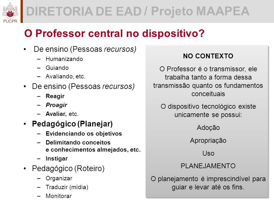 DIRETORIA DE EAD / Projeto MAAPEA O Professor central no dispositivo.