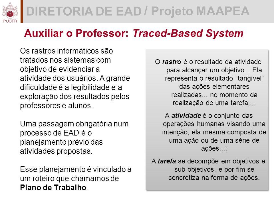 DIRETORIA DE EAD / Projeto MAAPEA Auxiliar o Professor: Traced-Based System O rastro é o resultado da atividade para alcançar um objetivo...