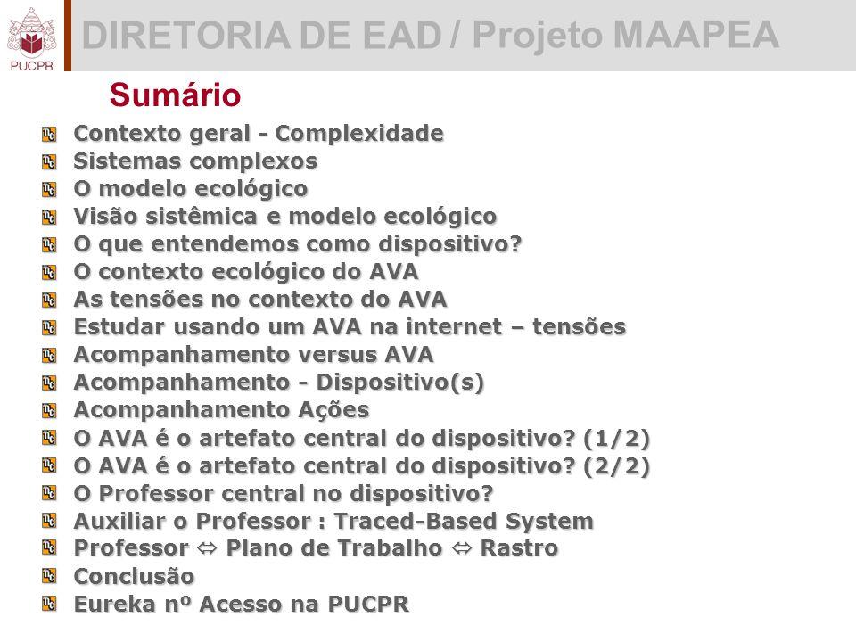 DIRETORIA DE EAD / Projeto MAAPEA Sumário Contexto geral - Complexidade Sistemas complexos O modelo ecológico Visão sistêmica e modelo ecológico O que entendemos como dispositivo.